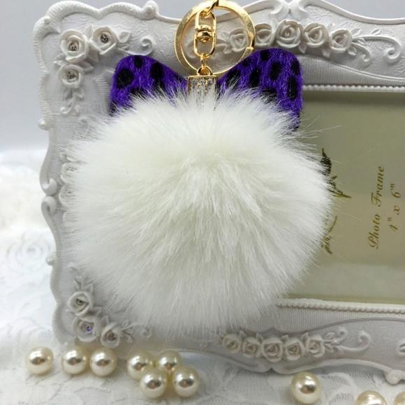 Accessories - White Purple Leopard Bow Pompom Keychain